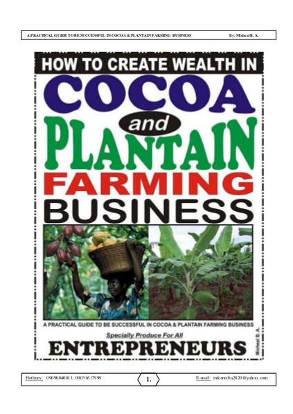 COCOA AND PLANTAIN BUSINESS (Guide) Nov. 2015