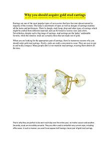 Why you should acquire gold stud earrings