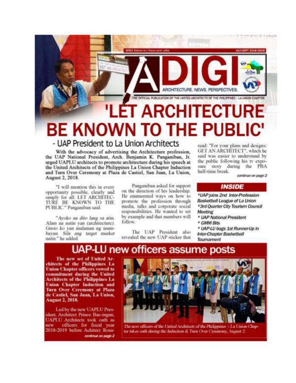UAP La Union Chapter Newsletter La Union Adigi Issue