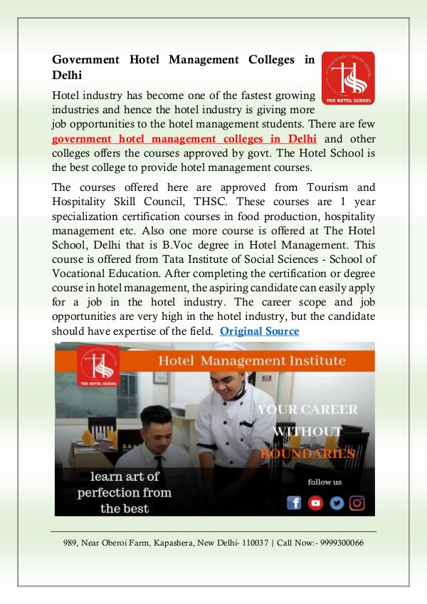 Government Hotel Management Colleges in Delhi government-hotel-management-colleges
