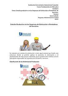 Estudio Productivo en las Empresas de Fabricación o Prestadoras de Se