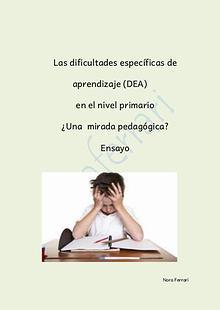 Las dificultades específicas de aprendizaje