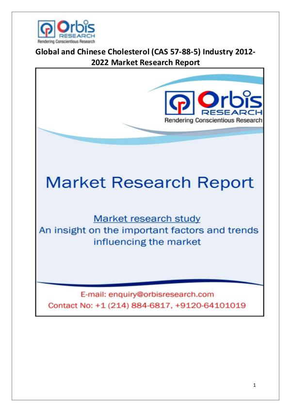 Industry Analysis Worldwide & China Cholesterol (CAS 57-88-5) Market