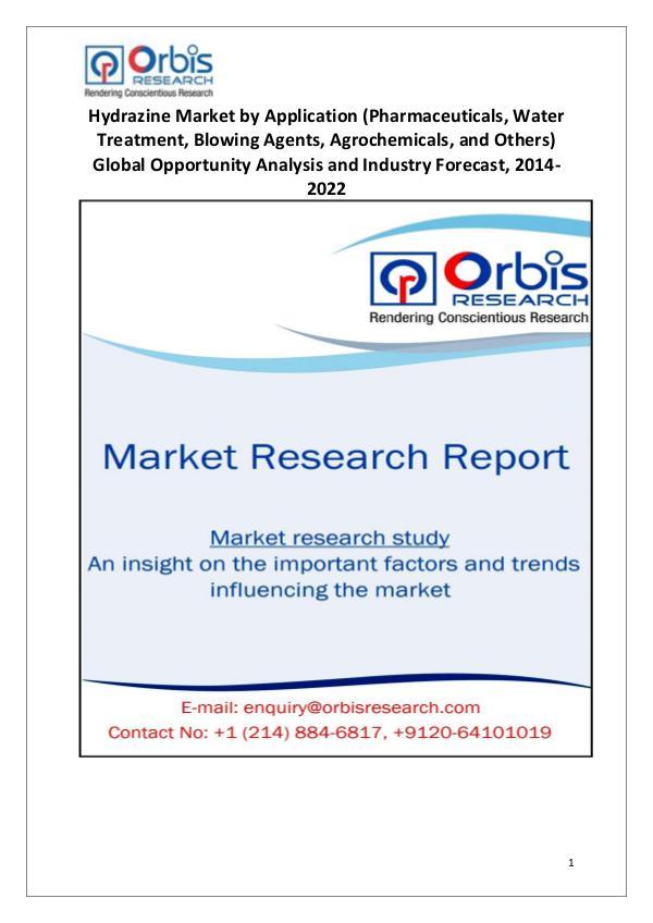 Industry Analysis Hydrazine Market Global Opportunity Analysis