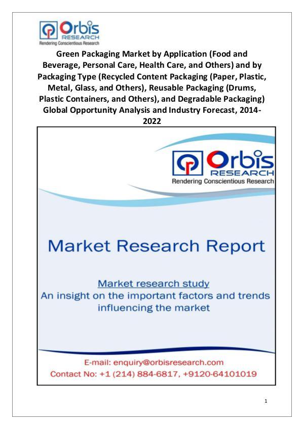 Industry Analysis Global Green Packaging Market Analysis 2014-2022