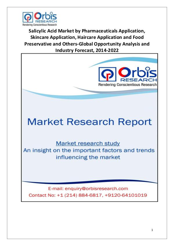 Industry Analysis Salicylic Acid Market Key Strategic Moves
