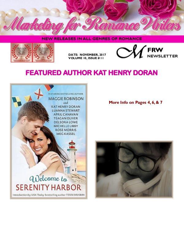 Marketing for Romance Writers Newsletter November, 2017 Volume # 10, Issue # 11