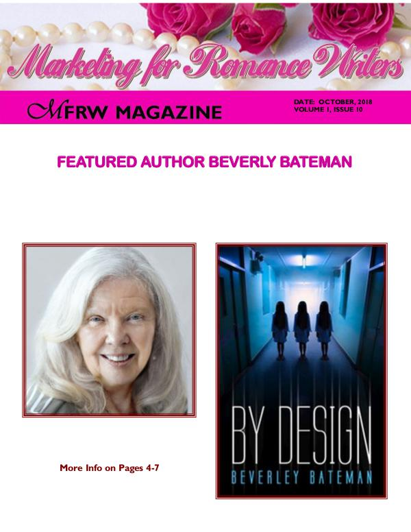 Marketing for Romance Writers Magazine October, 2018 Volume # 1, Issue # 10