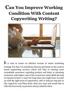 Can You Improve Working Condition With Content Copywriting Writing
