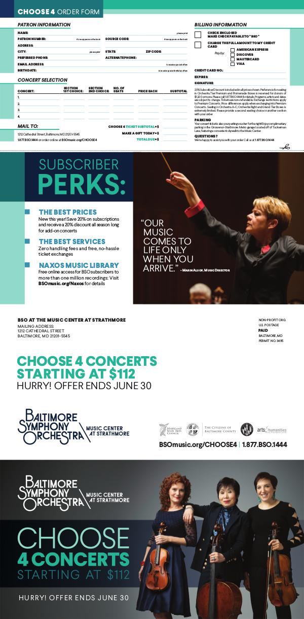 2017-2018 Season Brochure Choose 4 Concerts: Strathmore
