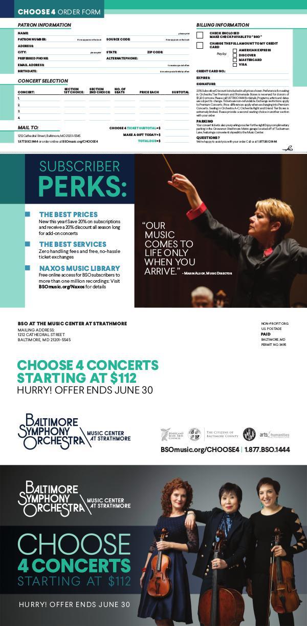 Choose 4 Concerts: Strathmore