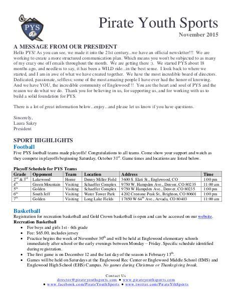 November 2015 Newsletter November 2015