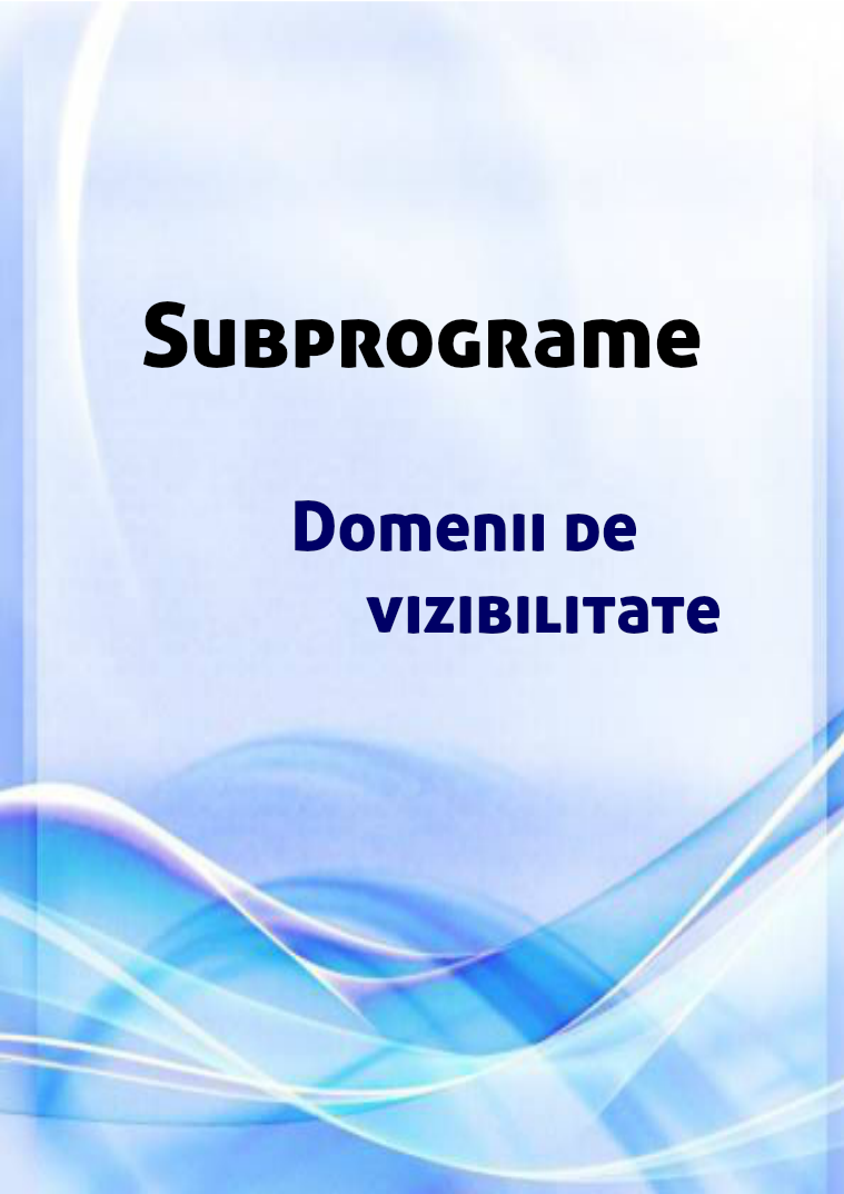 Subprograme Domenii de vizibilitate