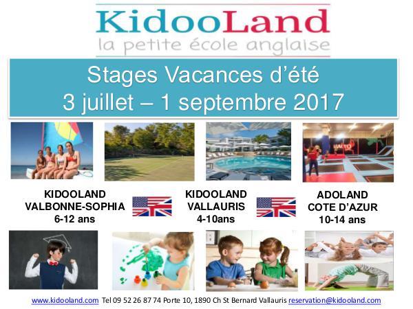 KidooLand Programme Estivale 2017 Kidooland Programme Estivale juillet août 2017