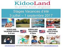 KidooLand Programme Estivale 2017
