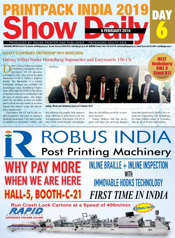 Printpack India 2019 Show Daily - 6th day eBulletin-6th-day | Joomag