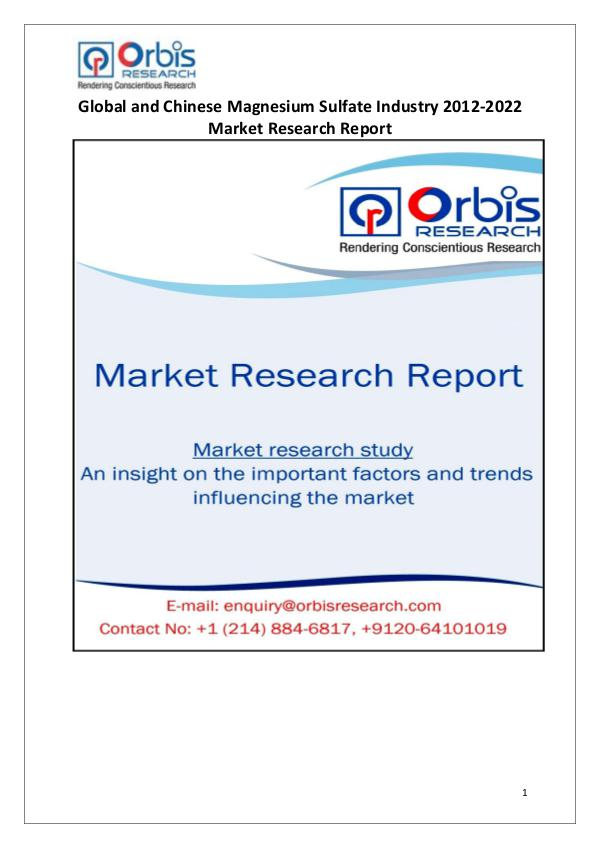 Industry Analysis Magnesium Sulfate Market Worldwide and Chinese