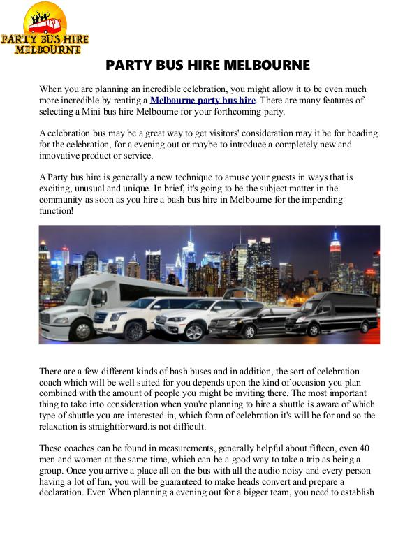 Party Bus Hire in Melbourne Bus Hire in Melbourne