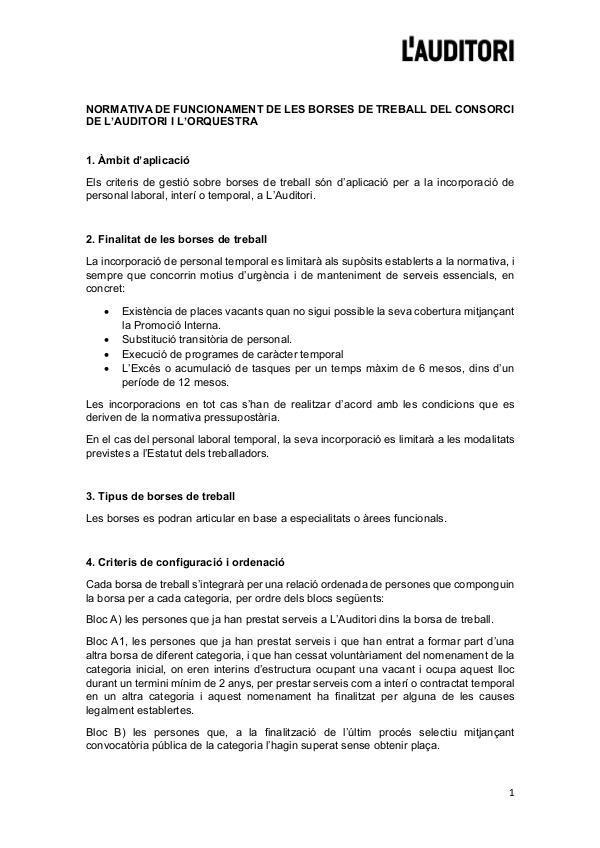 Normativa funcionament Borses de treball - L'Auditori Normativa funcionament Borses de treball - L'Audit