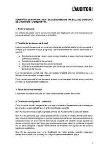 Normativa funcionament Borses de treball - L'Auditori