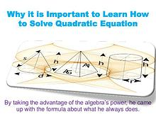 Why it is Important to Learn How to Solve Quadratic Equation