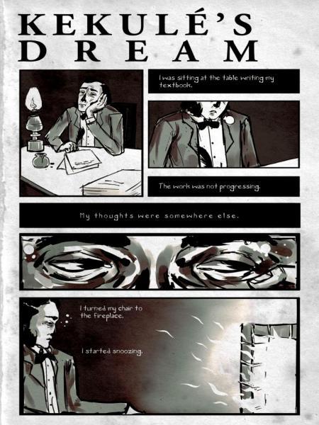 Cartoon: Kekulé's dream CARTOON: KEKULÉ´S DREAM