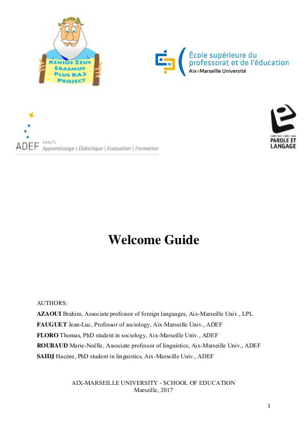Welcome Guide by the University of Aix-Marseille, France Welcome Guide France - EN