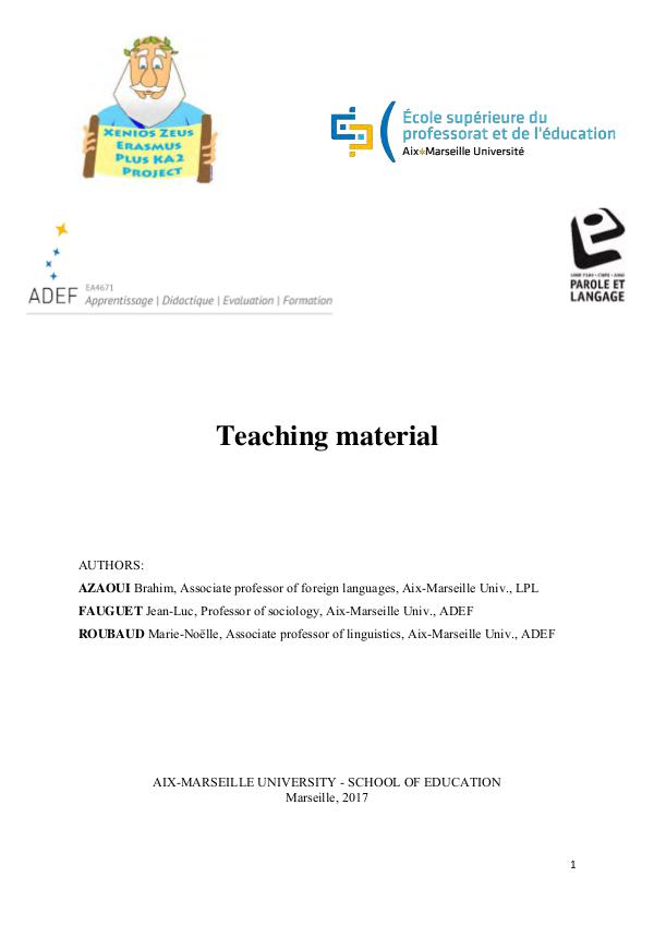 Educational Support Material by the University of Aix-Marseille Education Material France- EN