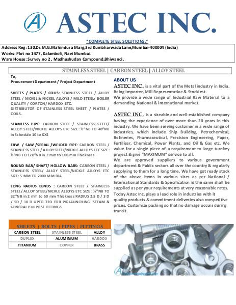 Astec Inc. manufacturer of pipe fittings