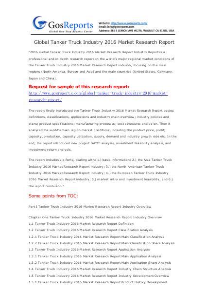 Global Tanker Truck Industry 2016 Market Research Report Global Tanker Truck Industry 2016 Market Research