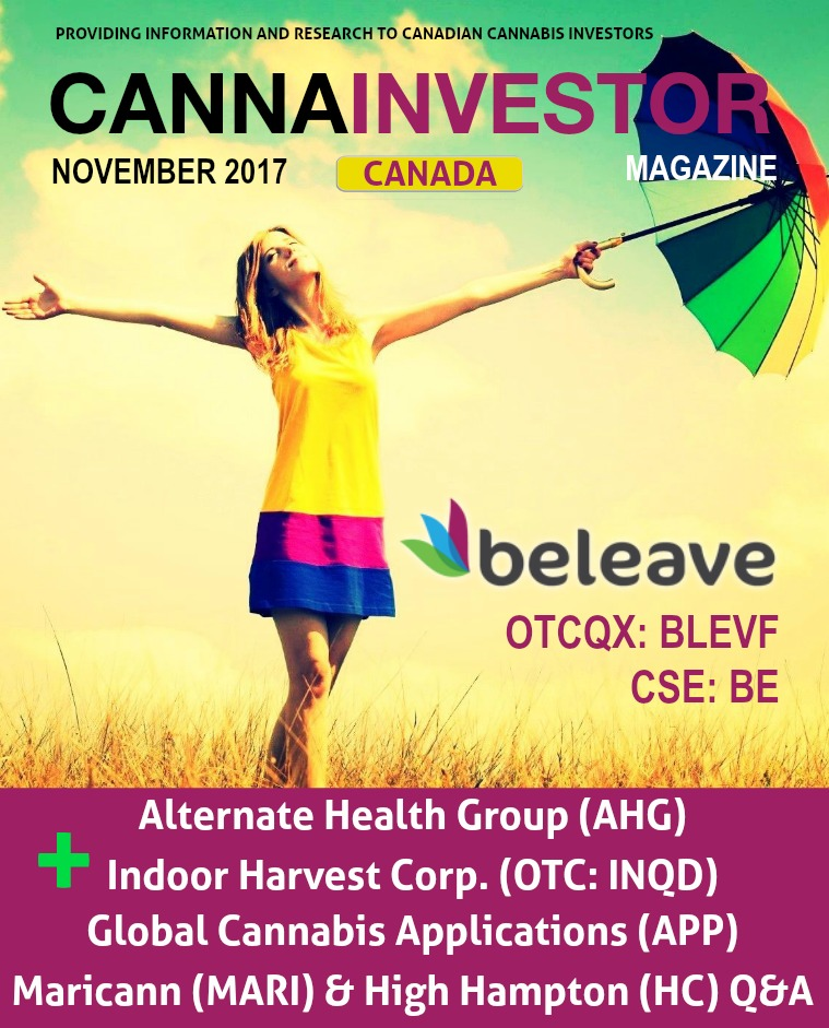 Canadian CANNAINVESTOR Magazine November 2017