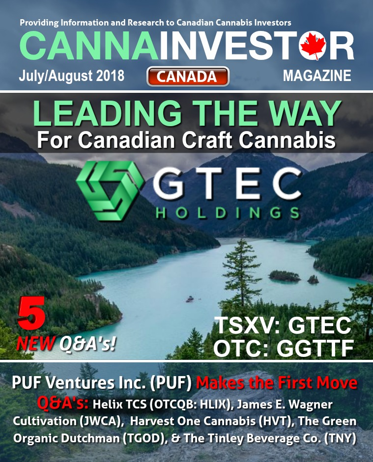 Canadian CANNAINVESTOR Magazine July / August 2018
