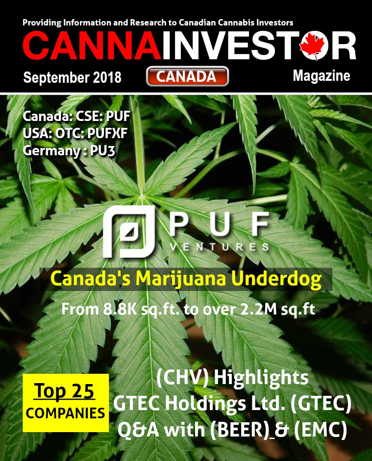 Canadian CANNAINVESTOR Magazine September 2018