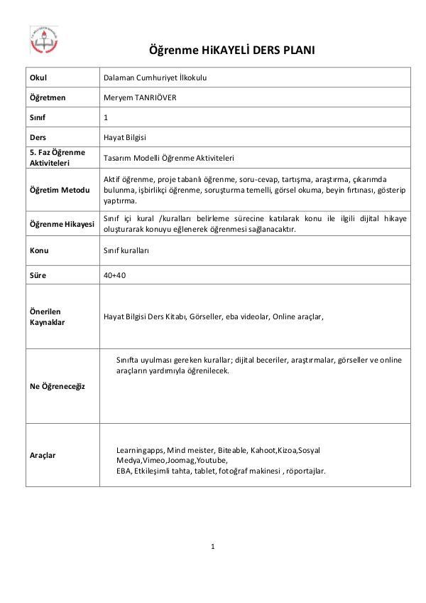 1.sınıfhayatbilgisisınıfkuralları Ders-planı-hazırlama-Şablonu-1.sınıf-sınıf kuralla