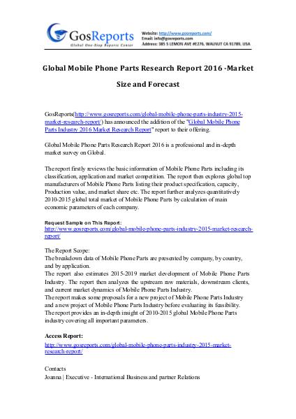 Global Mobile Phone Parts Industry 2015 Market Research Report Global Mobile Phone Parts Industry 2015 Market Res