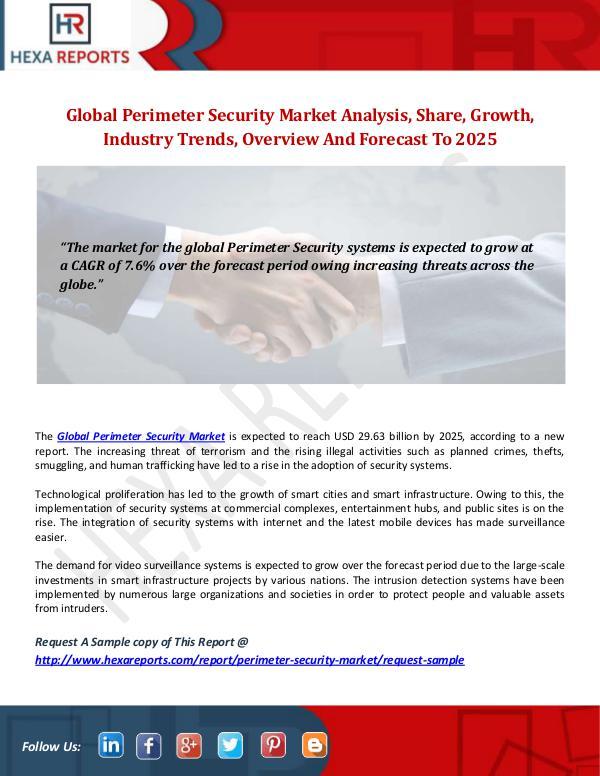 Perimeter Security Market Analysis And Segment Forecasts, 2014-2025 Hexa Reports