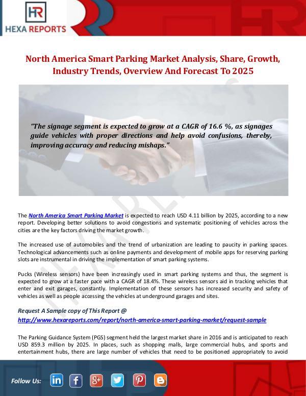 North America Smart Parking Market Analysis & Segment Forecasts, 2025 Hexa Reports