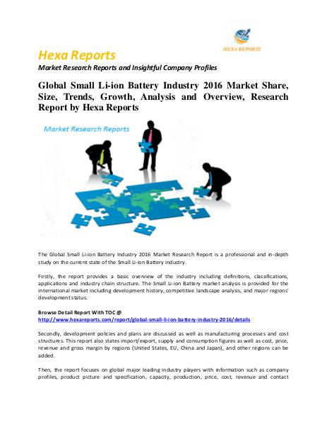 Global Small Li-ion Battery Industry 2016 Market Share, Size