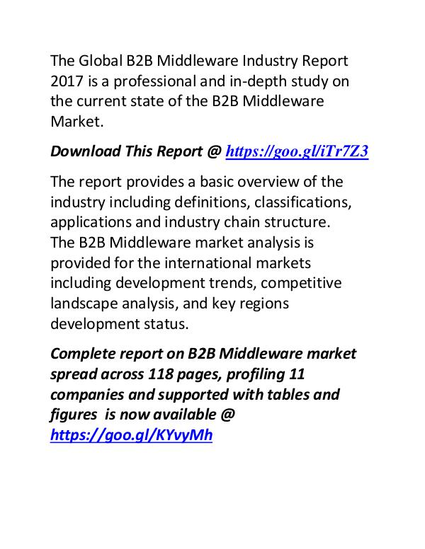 B2B Middleware Industry Report 2017: Compatitive Landscape Analysis B2B Middleware Industry