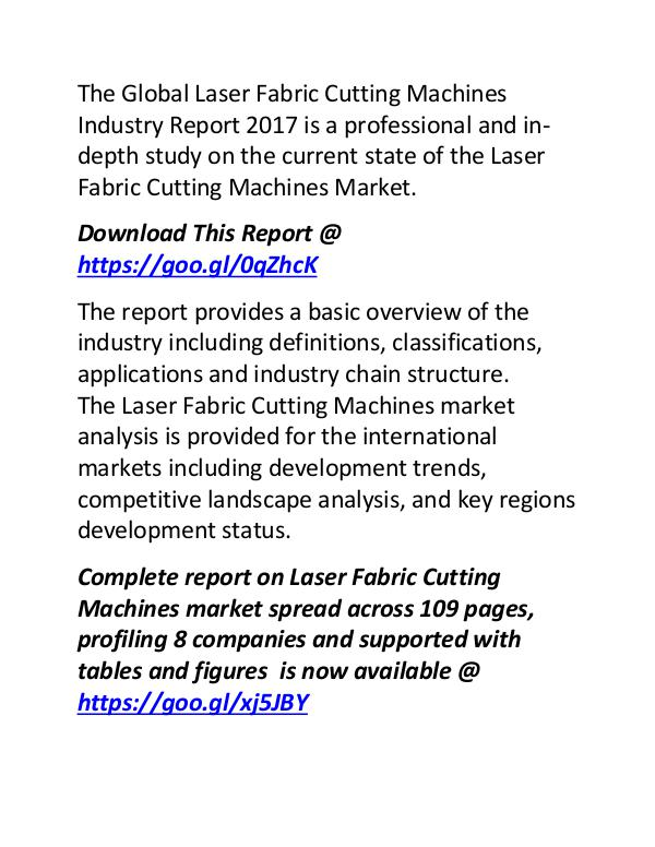 Laser Fabric Cutting Machines Market Key Manufacturers Growth Report Laser Fabric Cutting Machines Industry