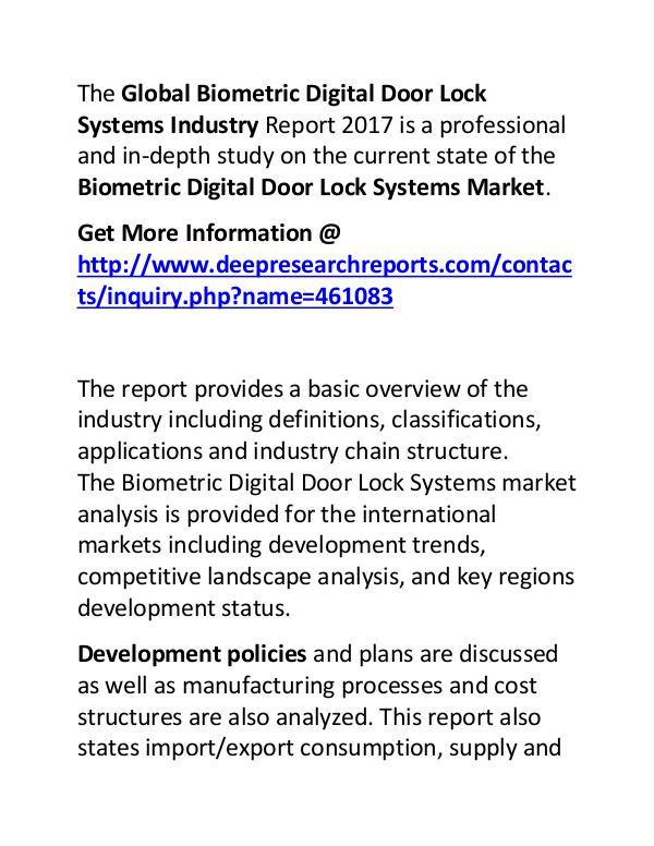 Biometric Digital Door Lock Systems Industry 2017: Market Forecast Biometric Digital Door Lock Systems Industry 2017