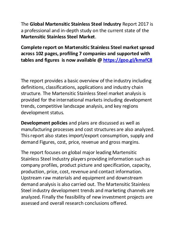 Martensitic Stainless Steel Industry Report 2017 Martensitic Stainless Steel Market Manufacturers