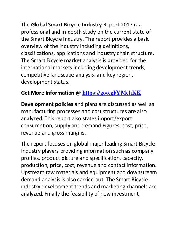 Smart Bicycle Industry 2017: Market Trends and Demands Research Smart Bicycle Market Research Report 2017
