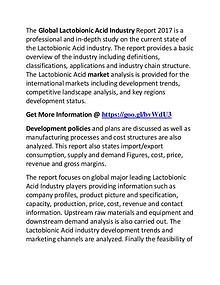 Lactobionic Acid Industry 2017: Market Manufacturers Trend & Forecast