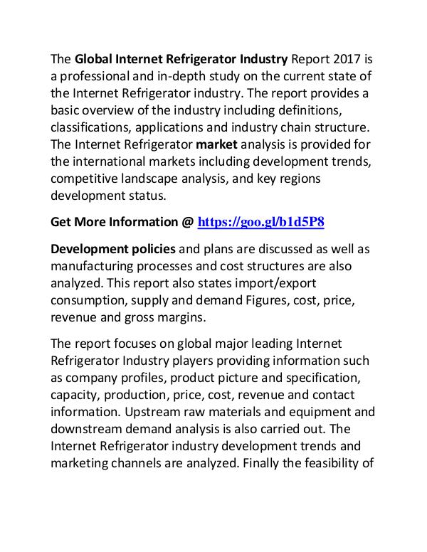 Internet Refrigerator Industry 2017-2022 Market Growth, Trend, Demand Internet Refrigerator Industry 2017 Market Trend,