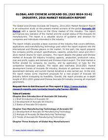 Global Avocado Oil Market Forecast Study 2011-2021
