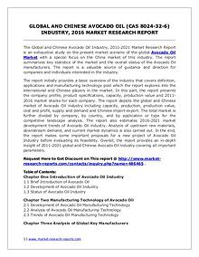 Global Avocado Oil Market Forecast Study 2011-2021