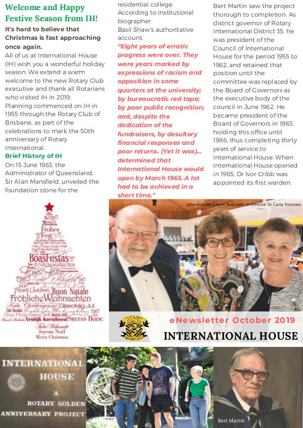 IH eNews for Rotary Clubs - Oct 2019 eNews for Rotary from International House Oct 2019