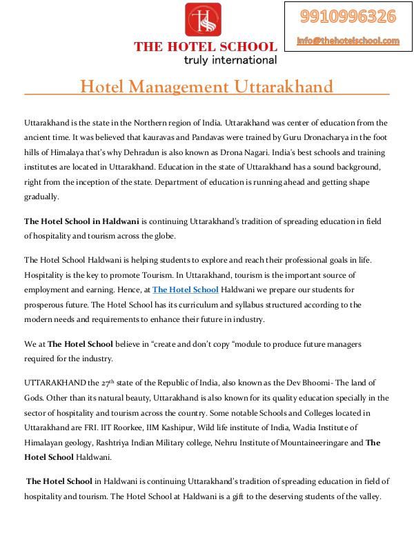 Hotel Management Uttarakhand - The Hotel School Haldwani Hotel Management Uttarakhand