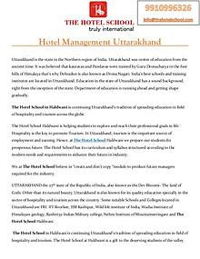 Hotel Management Uttarakhand - The Hotel School Haldwani